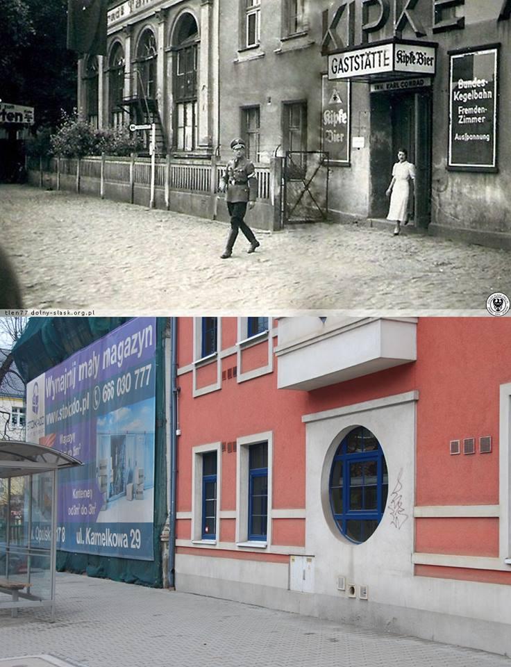 Klettendorf - Schweidnitzer strasse (ul. Wałbrzyska). Na zdjęciu Conrads Gaststätte, knajpa browaru Kipke z której chwiejnym krokiem wychodzi oficer Hitlerjugend. Chodzą słuchy, że knajpę tę wizytował sam Hitler.