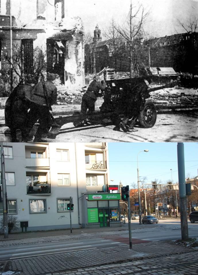 Kürassierstrasse, marzec 1945. Żołnierze radzieccy podciągają działo przeciwpancerne 76mm na linie frontu. Obecne skrzyżowanie al.Hallera z ul.Powstańców Śląskich.