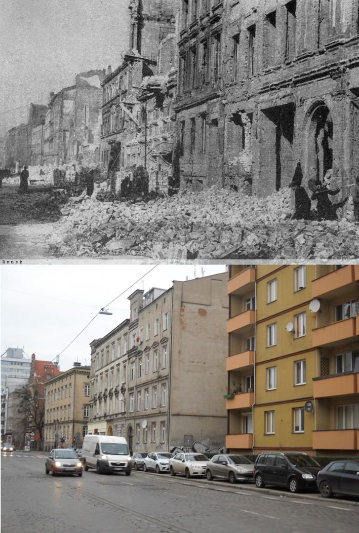 """Porządkowanie ulicy Kościuszki (d. Tauentzienstrasse). Źródło: Henryk Smolak - """"Taki był początek"""", Ossolineum, 1962"""