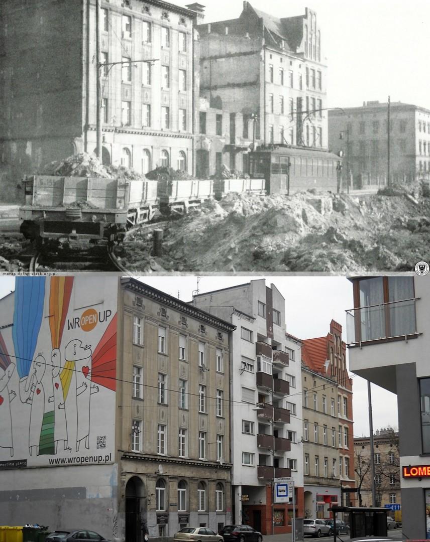 """Odgruzowywanie miasta, ul. Kościuszki, 1947r. Żródło: Henryk Smolak """"Przez wrocławskich ulic sto"""", Ossolineum 1962"""